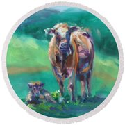 A Cow And Her Calf Round Beach Towel