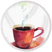 A Cup Of Coffee Round Beach Towel