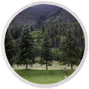 A Day At The Park In Vail Round Beach Towel