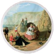 A Day At The Seaside Round Beach Towel by William Scott