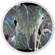 A Day In The Leaf Round Beach Towel