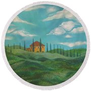 A Day In Tuscany Round Beach Towel by John Keaton