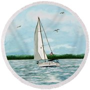 A Day In Virginia Round Beach Towel