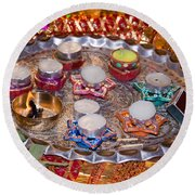A Decorated Hindu Prayer Thaali With Wax Candles Oil Lamps Round Beach Towel