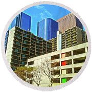 A Different Perspective On Downtown Los Angeles I Round Beach Towel