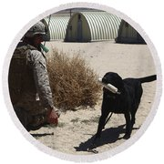 A Dog Handler Calls Over A Black Round Beach Towel by Stocktrek Images