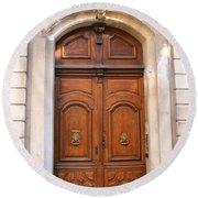 A Door In Arles Round Beach Towel