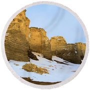 A Dusting On Monument Rocks Round Beach Towel