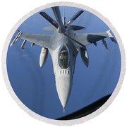 A Dutch F-16am Conducts In-flight Round Beach Towel