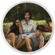 A Family Portrait Round Beach Towel