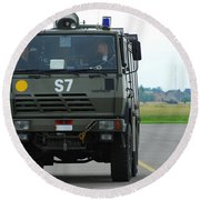 A Fire Engine Based At The Air Force Round Beach Towel by Luc De Jaeger
