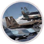A Flight Of Aggressor F-15 And F-16 Round Beach Towel