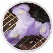 A Flower Music And Romance Round Beach Towel