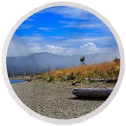 A Foggy Morning At Whiffin Spit Round Beach Towel