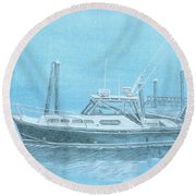 A Fortier Docked In Maine Round Beach Towel