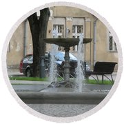 A Fountain In Silute Lithuania Round Beach Towel