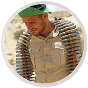 A Free Libyan Army Soldier With An Round Beach Towel