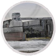 A French Landing Craft Comes Ashore Round Beach Towel