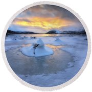 A Frozen Fjord That Is Part Round Beach Towel