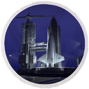 A Futuristic Space Shuttle Awaits Round Beach Towel by Walter Myers