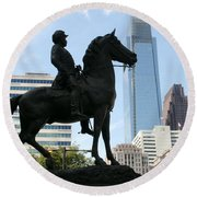 A General And His Horse In Philly Round Beach Towel