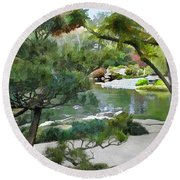 A Glimpse Of Tranquility Round Beach Towel