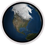 A Global View Over North America Round Beach Towel