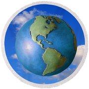 A Globe In The Sky Round Beach Towel