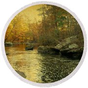 A Golden Autumn At The Unami Round Beach Towel