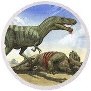 A Gorgosaurus Libratus Stands Round Beach Towel