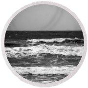 A Gray November Day At The Beach - II  Round Beach Towel