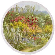 A Herbaceous Border Round Beach Towel