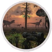 A Herd Of Allosaurus Dinosaur Cause Round Beach Towel