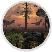 A Herd Of Allosaurus Dinosaur Cause Round Beach Towel