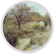 A Hill Farm Symondsbury Dorset Round Beach Towel by Helen Allingham