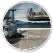 A Hovercraft Approaches Uss New Orleans Round Beach Towel