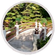 A Japanese Garden Bridge From Sun To Shade Round Beach Towel