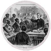 A Jury Of Whites And Blacks Round Beach Towel