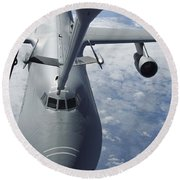 A Kc-10 Extender Prepares To Refuel Round Beach Towel by Stocktrek Images