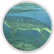 A Late Devonian Period Ichthyostega Round Beach Towel