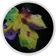 A Leaf Left Black And Blue  Round Beach Towel