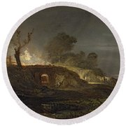 A Lime Kiln At Coalbrookdale Round Beach Towel by Joseph Mallord William Turner