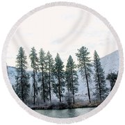 A Line Of Trees In Winter  Round Beach Towel