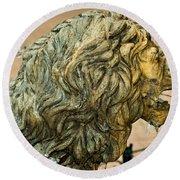 A Lion In Summer Round Beach Towel
