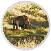 A Lone Bison In Yellowstone 9467 Round Beach Towel