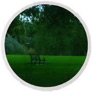 A Lonely Autumn Bench  Round Beach Towel