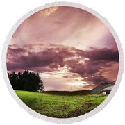 A Lonely Farm Building In An Open Field Round Beach Towel