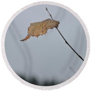 A Lonely Leaf Round Beach Towel