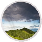 A Lush Green Landscape With Grassy Round Beach Towel