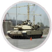 A M1 Abram Sits Out Front Of The New Round Beach Towel by Terry Moore